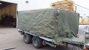 Ex-Military flat deck trailer with extras.