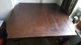 ANTIQUE FURNITURE DARK SOLID WOOD EXPANDABLE DINING TABLE - FILM PROP