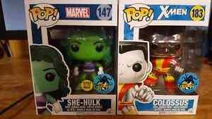 She-hulk glow and colossus chrome comikaze 2016 funko pops!