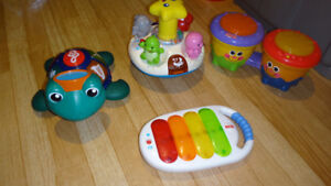 lot jouets pour bébé musical v-tech, fisher price, baby einstein
