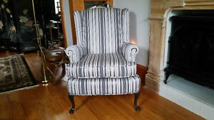 Newly upholstered wing chair