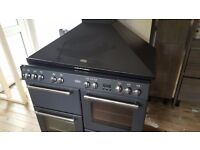 Dual fuel cooker and hood (7 ring/glass top)
