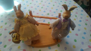The Hopkins by Robert Raikes Collectible Craved Wooden Bunnies