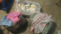 baby girl newborn, cute clothes, onesies, sleepers and diapers