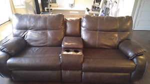 Leather recliners with chair and ottoman (extra seat)