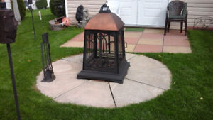 Outdoor firepit and stones
