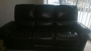 Leather couch, love seat and chair