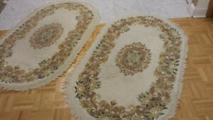 Pair Indo Aubusson Wool Carpets / Rugs - Ivory, Green, Brown