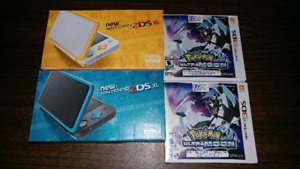 Two 2DsXL for sale and 2 Ultra Moons