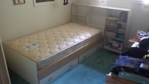 Twin Bed with Bookcase Headboard; includes Mattress