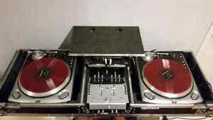 DJ turntables setup with scratch live and oddessey flight case
