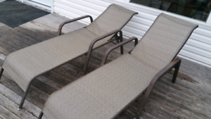 3 patio chaise lounge chairs.