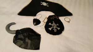 Pirate Costume including earring, hook, patch and nag of goodies