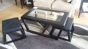 Coffee table and end tables.