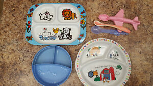 3 Baby/toddler plates, cutlery