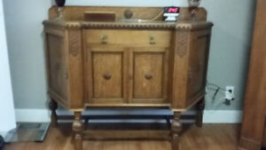 Oak Sideboard  + 2 other things same price...Oak Armoire/Ottoman