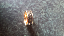Tungsten gold and black ring