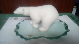 Ceramic Polar Bear w/ Glass Stand