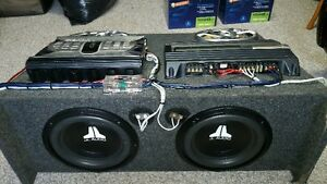 "Speaker Box with 2 x amps, 2x 6x9 speakers and 2x 10""subs"