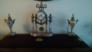 18th century marble and bronze french clock with 2 urns
