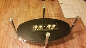 Glass coffee table and matching end table for sale