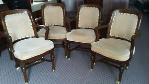 wood arm chairs on casters
