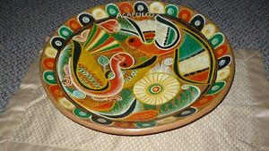 VINTAGE GORGEOUS MEXICAN TALVERA HAND PAINTED BIRDS CLAY PLATE Kitchener / Waterloo Kitchener Area image 9