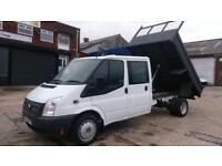 2014 14 FORD TRANSIT 2.2 350 DRW 1D 99 BHP CREW CAB TIPPER 1 OWNER VERY CLEAN /