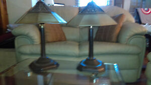 3 ANTIQUE Matching lamps/2 SIDE and 1 STANDING BROWN LAMPS  VERY