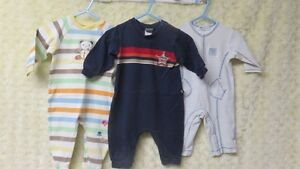 3 Baby Boy Brand Name Sleepers Size 3-6 Mths Gently Worn .