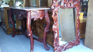 MARBLE TOP TABLE WITH MIRROR