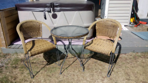 Wicker bistro table with chairs