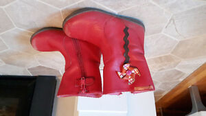 Red leather booties size 24
