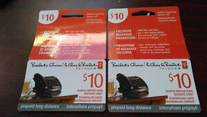 Two PC mobile  prepaid long distance cards