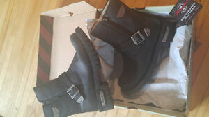 Genuine top leather rugged Milwaukee Womens Motorcycle Boots SZ8
