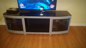 Sturdy Black and Silver TV/Fireplace insert stand