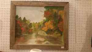 Large hand painted oil sign native boating London Ontario image 1