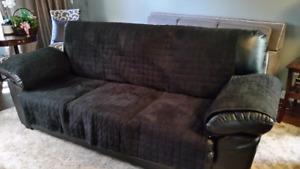 Black faux leather couch