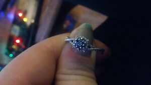 sterling silver blue sapphire and diamond ring