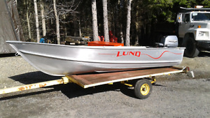 12 foot Lund aluminum boat with 8 hp Johnson outboard