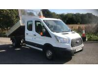 2015 15 PLATE FORD TRANSIT 350 TIPPER CREW CAB PICK UP