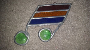 A real stained glass colorful music note only $5 great condition