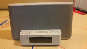 Sony clock radio features a built-in iPod/iPhone dock