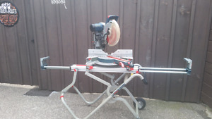 """12"""" Bosch dual compound sliding miter saw and stand.mitre newish"""