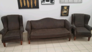Two Wingback arm chairs & One Wingback couch