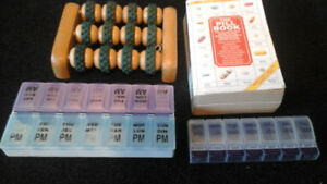 Pill book and pill containers  and foot massager