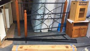 queen size black metal bed frame with mattress   it is sturdy and good