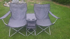 Double folding lawn chair