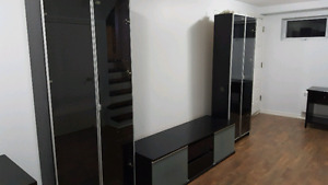 TV stand with large display units and interior lighting