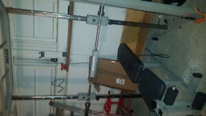 Full home gym set with bench, cables,treadmill and more